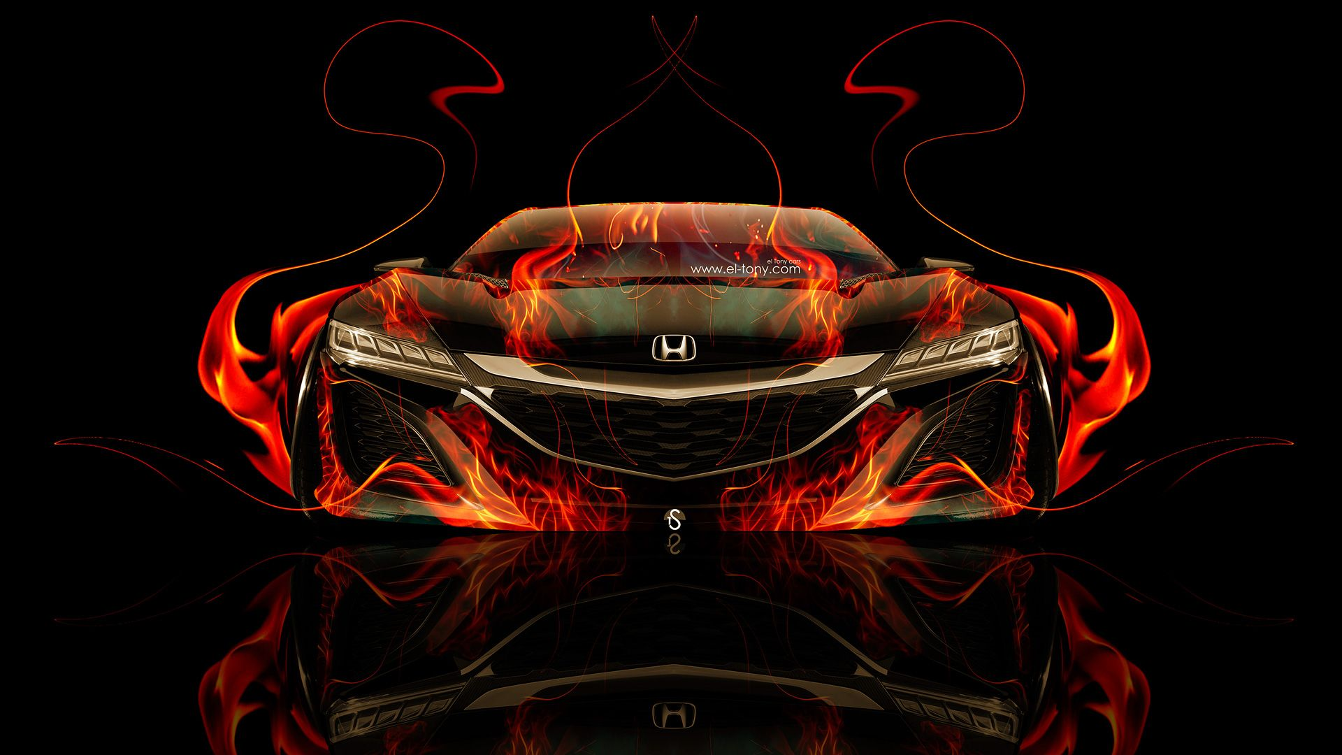 Honda NSX Front Super Fire Car 2014 HD