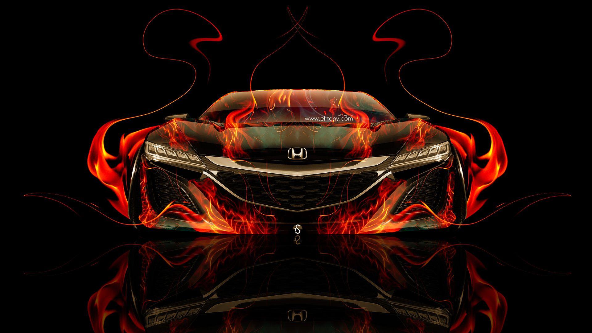 Superbe Honda NSX Front Super Fire Car 2014 HD
