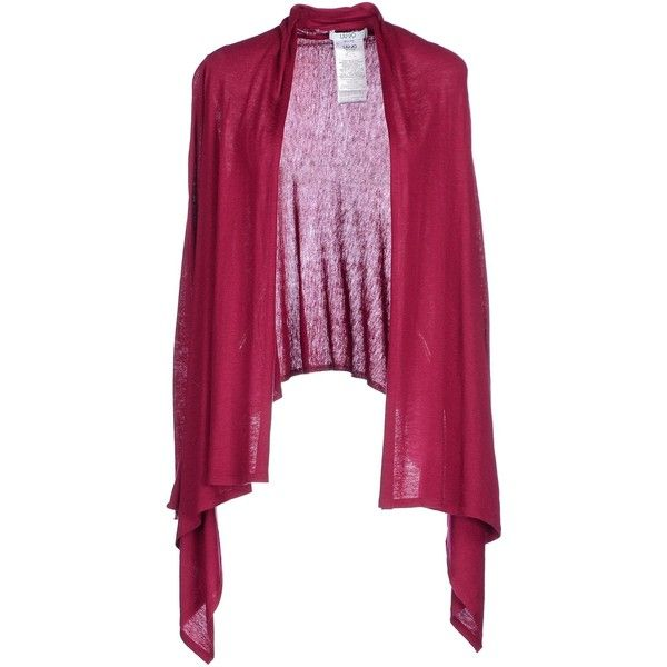 Liu •jo Jeans Cardigan ($50) ❤ liked on Polyvore featuring tops, cardigans, garnet, purple long sleeve top, cardigan top, purple cardigan, long sleeve cardigan and rhinestone tops