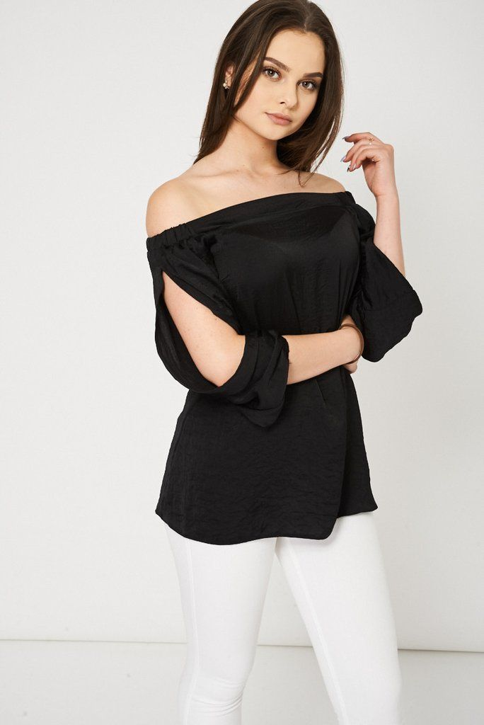 e8953705afface Black Bardot Top With Open Sleeves Ex-Branded Available In Plus Sizes
