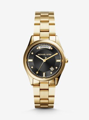 Find the Colette Onyx and Gold-Tone Watch by Michael Kors at Michael Kors.
