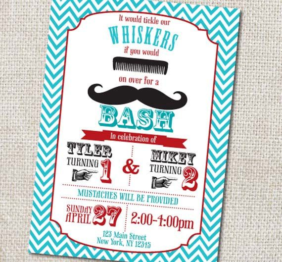 Mustache Birthday Party invitation Custom Printable on Etsy 1200
