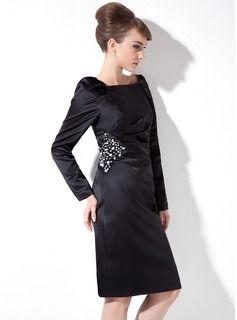 Sheath/Column Square Neckline Knee-Length Satin Cocktail Dress With Ruffle Beading (016021264) - JJsHouse