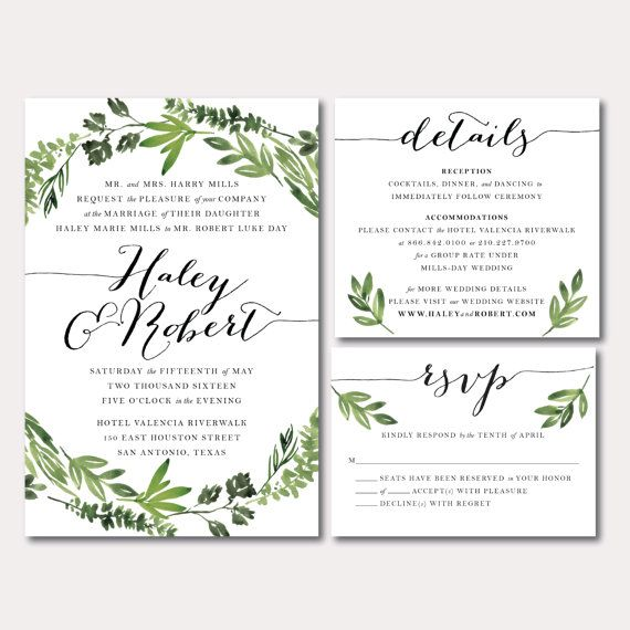 Printable Wedding Invitation Suite Botanical Wreath Watercolor Botanicals Leaves Herbs