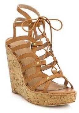 055dc34b2c5b Joie Larissa Leather Lace-Up Cork Wedge Sandals