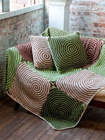 Yarnspirations Caron Vortex Afghan Pillows Free Crochet Pattern