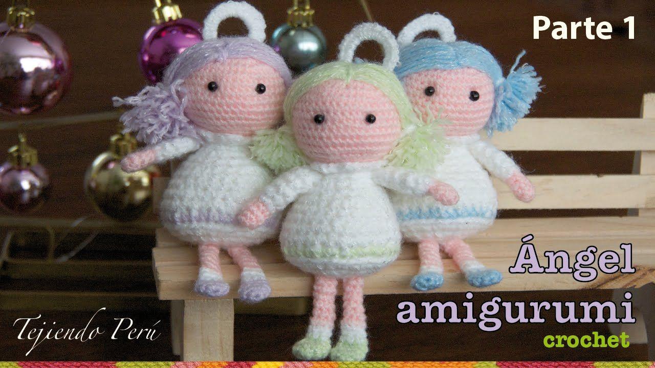 Tejido Amigurumi Tutorial : Ángel tejido a crochet amigurumi parte 1 lindos tejidos a