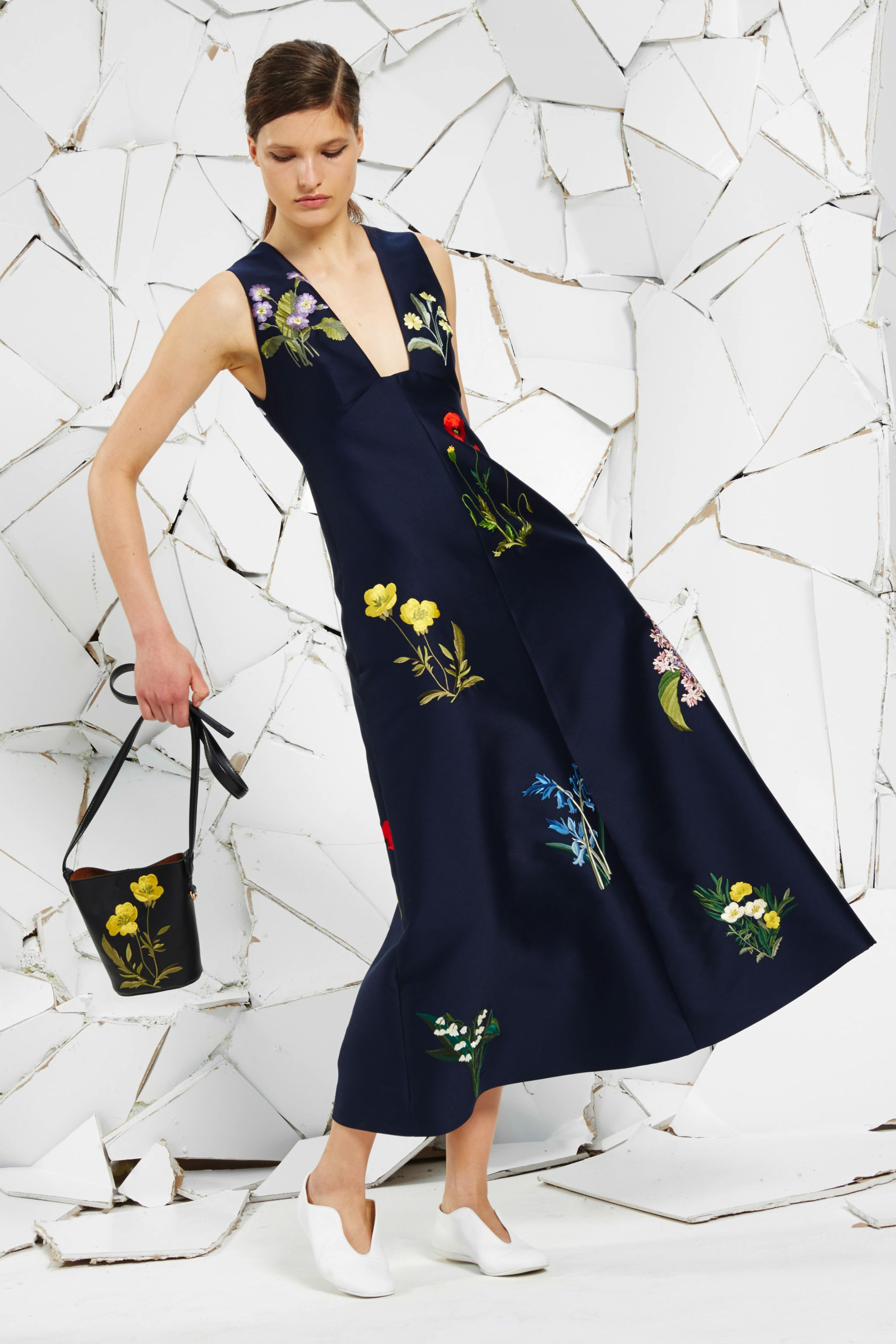 Ink Cotton Duchesse Kaitlyn Dress With Botanical Threadwork Embroidery, White Alter Nappa Ballerina  and Black Alter Nappa Botanical Embroidery Bag