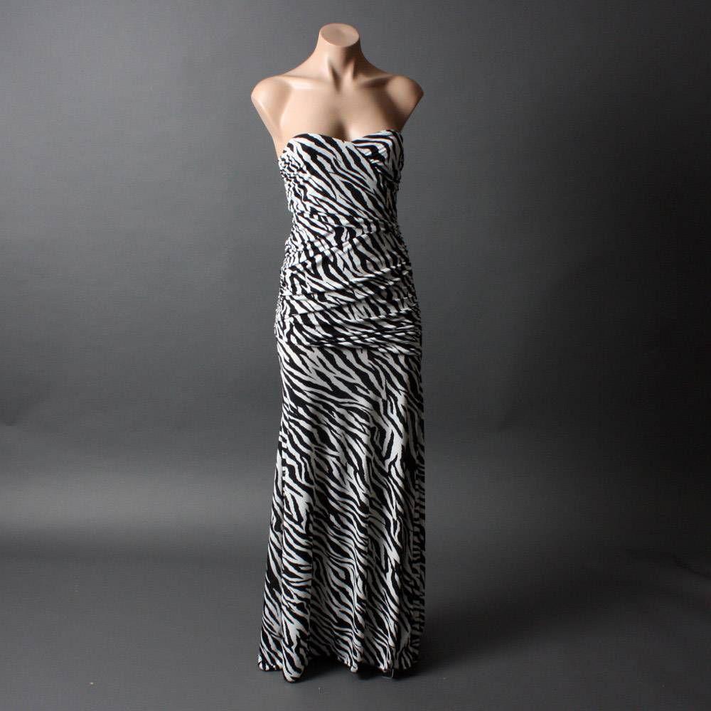 Strapless animal zebra black women formal evening long maxi dress