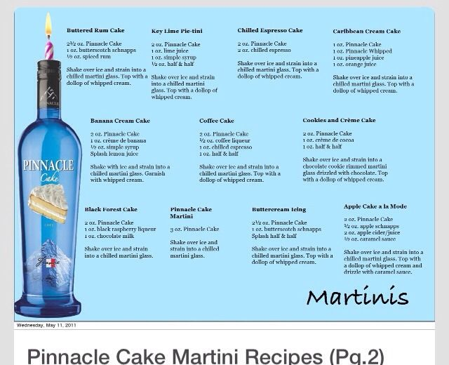 Pinnacle Vodka Cake Recipes Part 2 martinis Pinterest
