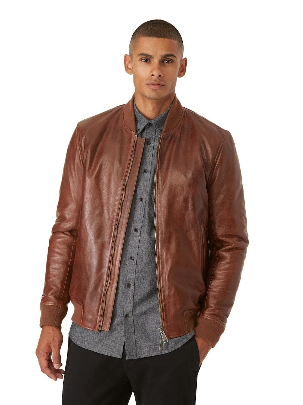 Leather Bomber Jacket In Tan Frank And Oak Shop Mens Clothing Classic Leather Jacket Mens Outfits [ 1333 x 1000 Pixel ]
