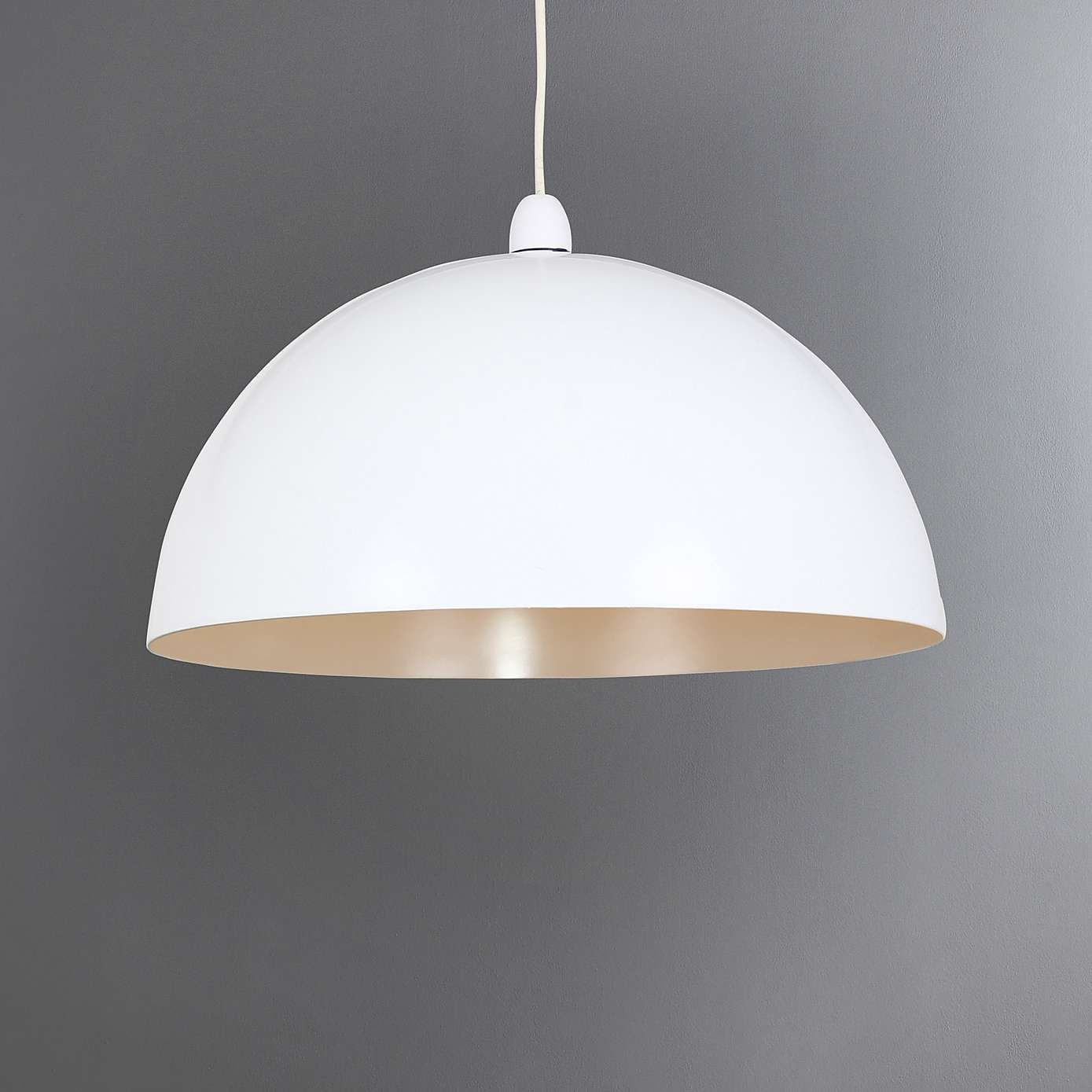 Large cut out dome metal lighting pendant shades cream - Featuring A Contemporary Dome Shape In A White Tone With A Sophisticated Grey Inner Lining This Light Pendant Is Crafted From Durable Metal