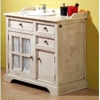 Conjunto mueble ba o rustico blanco hueso mueble for Mueble bano rustico blanco