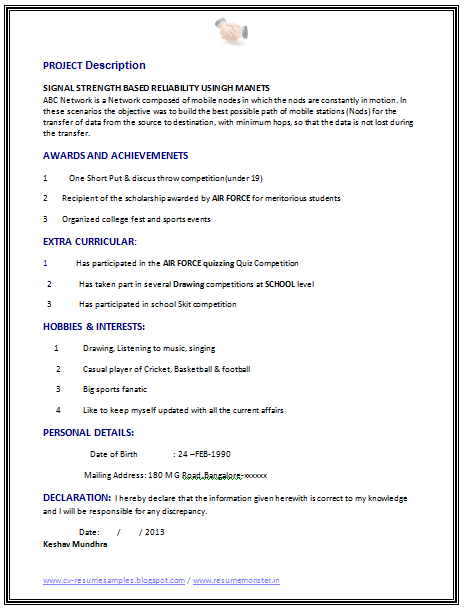 best fresher computer science student resume sample resume format for articleship