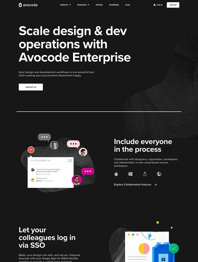 Avocode Enterprise In 2020 Landing Page Design Best Landing Page Design Page Design