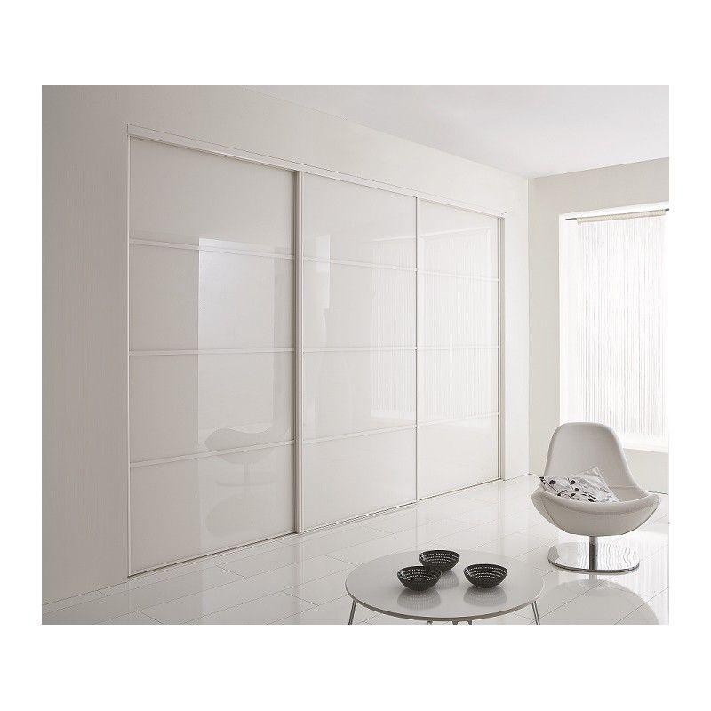 Portes coulissantes de placard en verre laqué blanc chambre - portes de placard coulissante