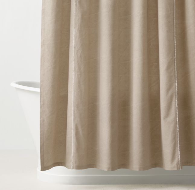 RH TEEN's Distressed Canvas Shower Curtain:It's all in the details. Cotton canvas gives our shower curtain a no-nonsense quality, while gentle distressing and frayed hems impart a welcoming, worn-in feel.