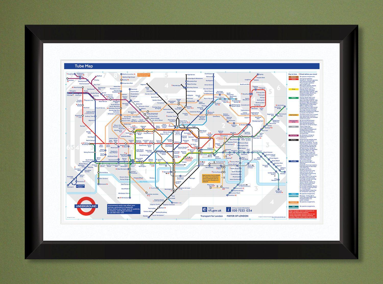Subway Map 2009.London Tube Subway Map 2009 18x12 Heavyweight Art Print Subway