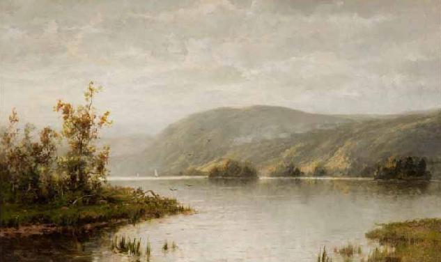 """Lake George,"" Thomas Worthington Whittredge, 1879, oil on canvas, 18 x 30"", Lake George Fine Art."