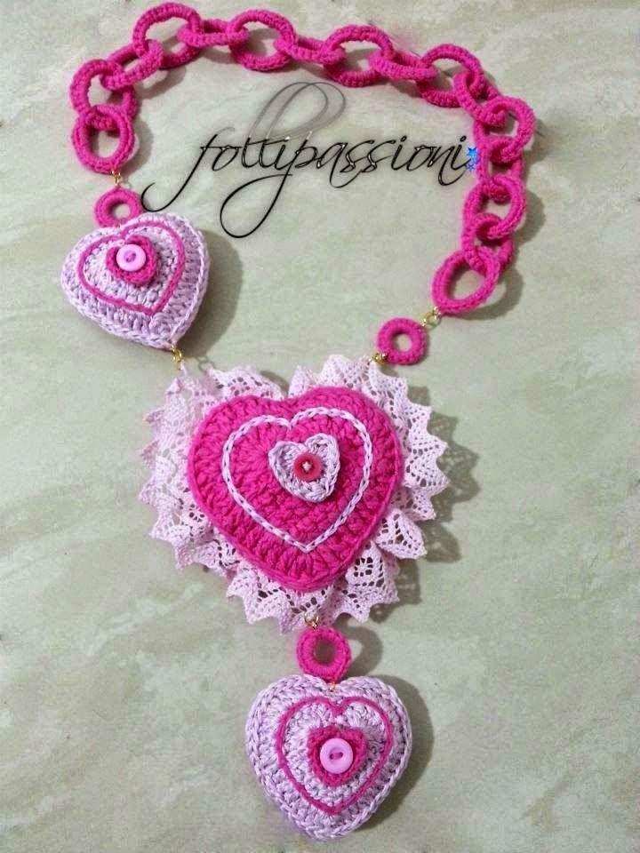 Collana Crochet Crochet Necklace Uncinetto Schemi Gratis Cuori