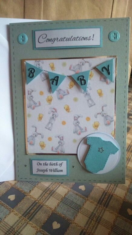 Baby boy card using cute papers and personalised. By Poppy-Rose Crafts