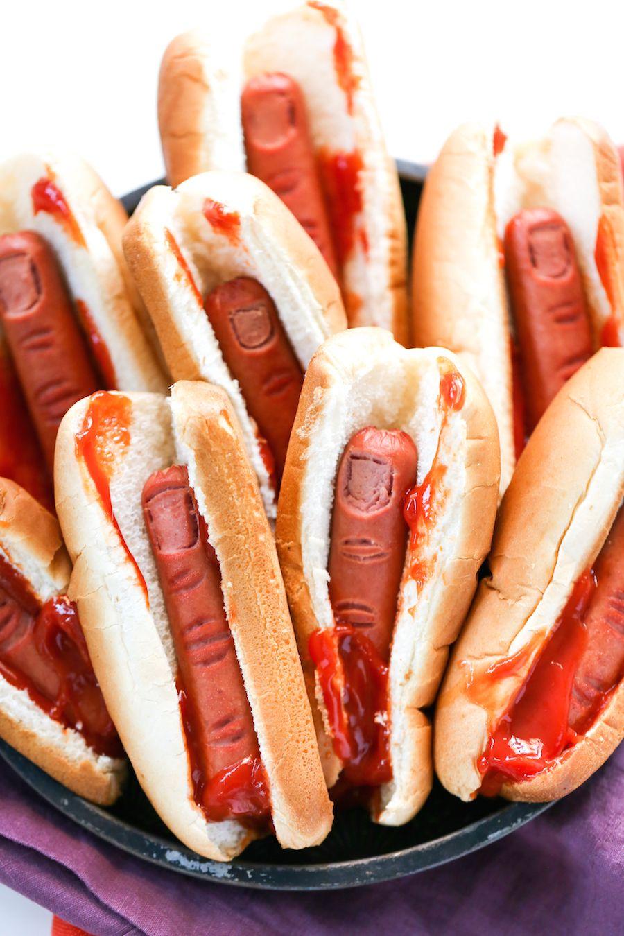 bloody finger hot dogs for halloween | recipe | halloween makeup