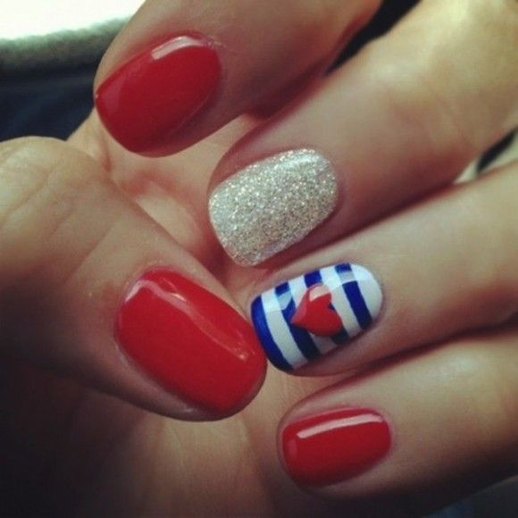 Usa nail love red gold and blue stripe nails laval nails usa nail love red gold and blue stripe nails laval nails ongles laval prinsesfo Choice Image