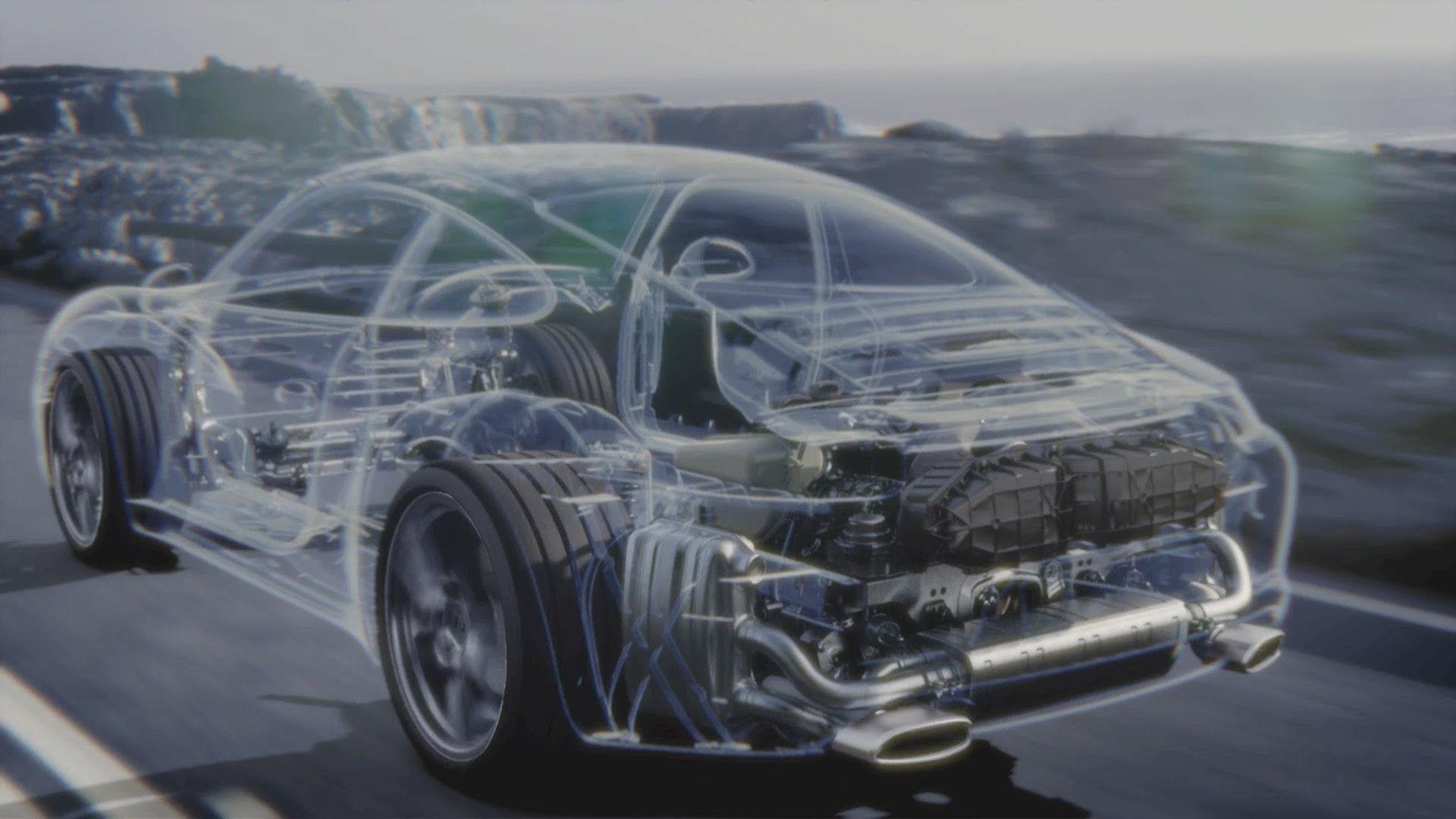 Water-cooled flat-six engine