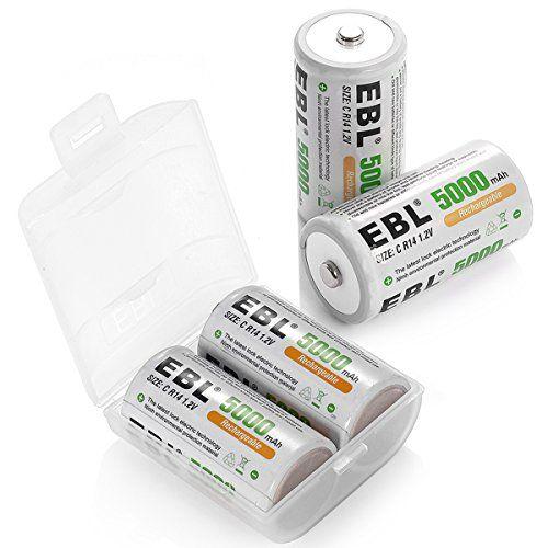 Ebl 5000mah High Capacity Ni Mh Rechargeable C Batteries Https Www Amazon Com Dp B00fhvm7gc Ref Cm Sw R Pi D Rechargeable Batteries C Batteries Batteries