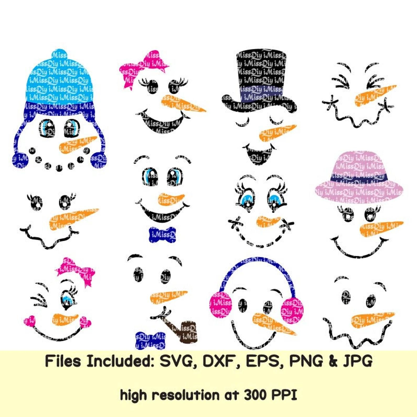 Snowman face svg bundle christmas svg files for cricut