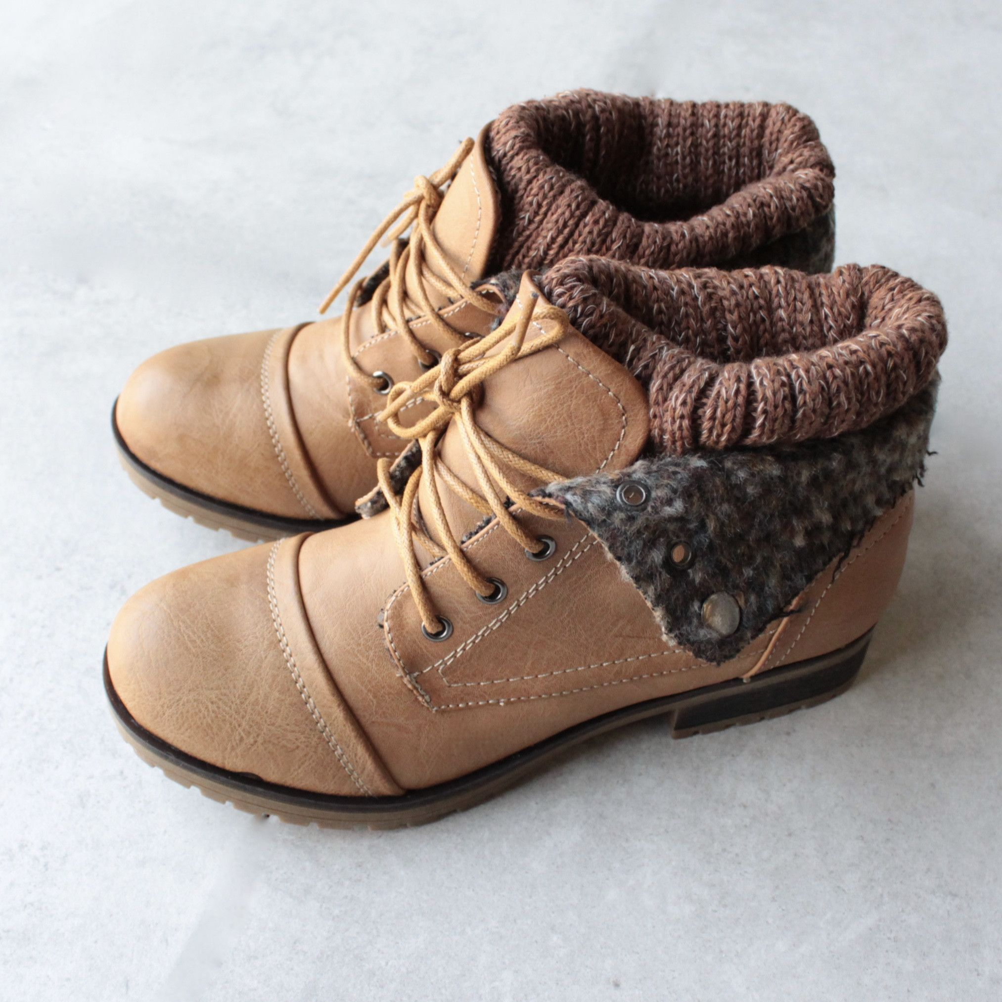 cozy womens sweater boots - tan - shophearts - 1