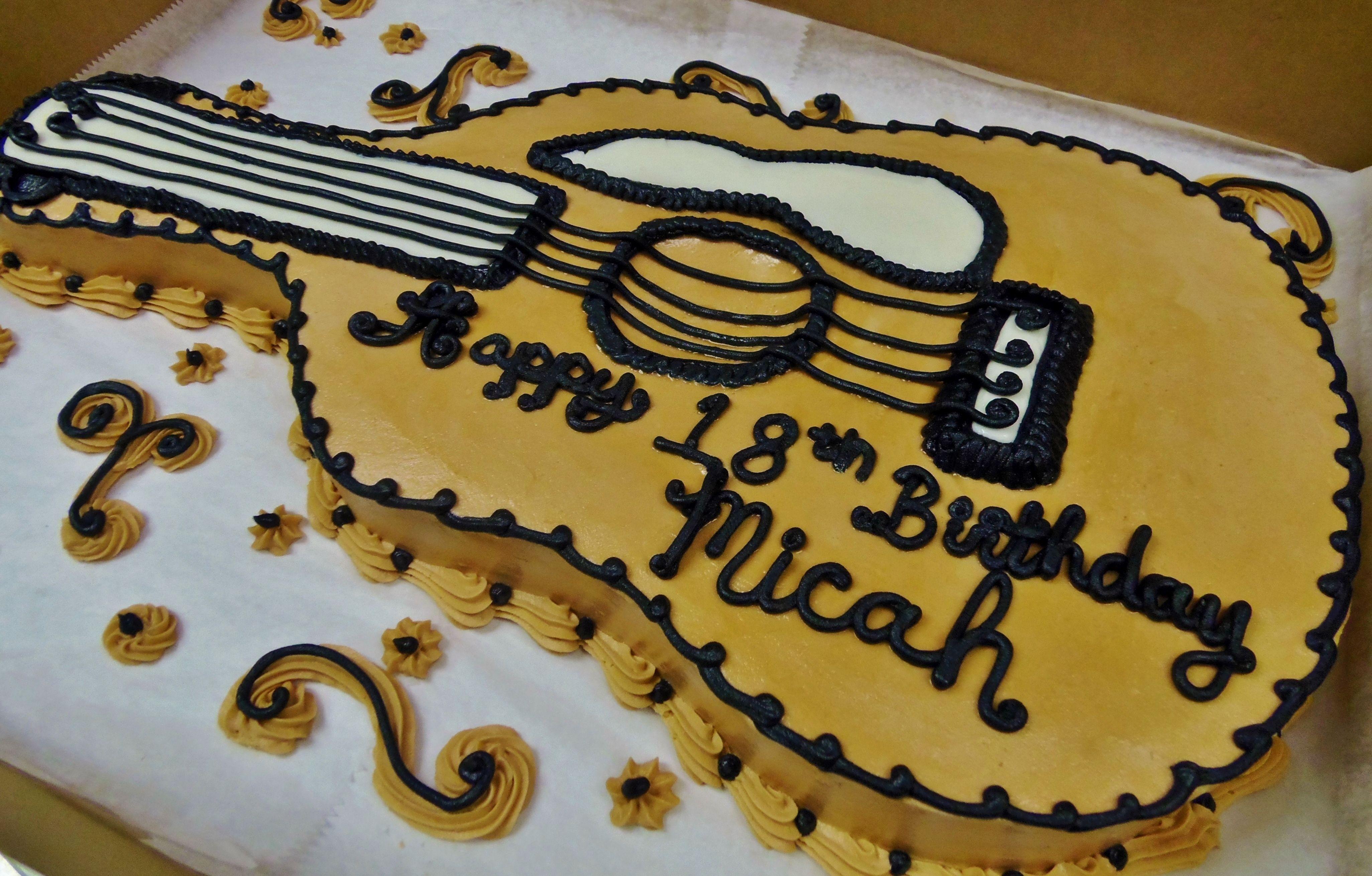 Guitar Cake Shaped In 100 Buttercream Guitar Cake Cake