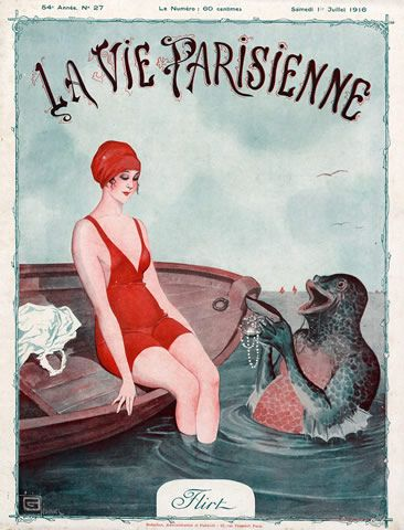 Léonnec 1916 Bathing Beauty Flirt Triton Man-Fish