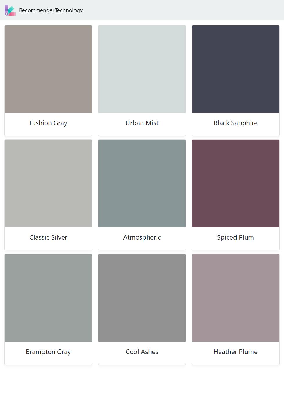Fashion Gray, Classic Silver, Brampton Gray, Urban Mist ...