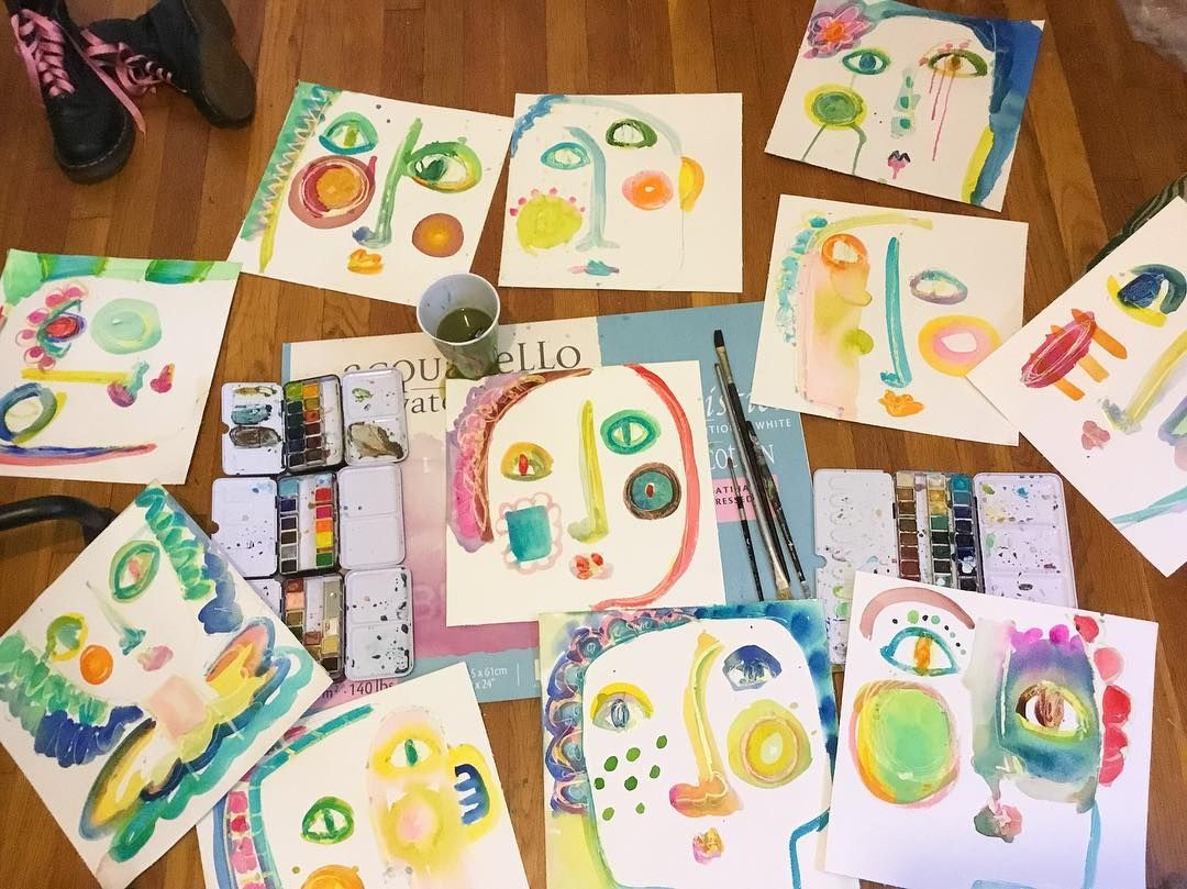 No I didn't unleash a 5 yr old in my studio...just my inner one.  nursing a cold working from home...funky faces make me feel better.