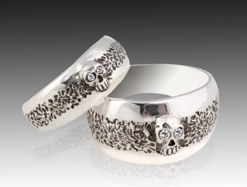 Skull Wedding Ring Set Sterling Silver Skull Wedding Ring set | Etsy