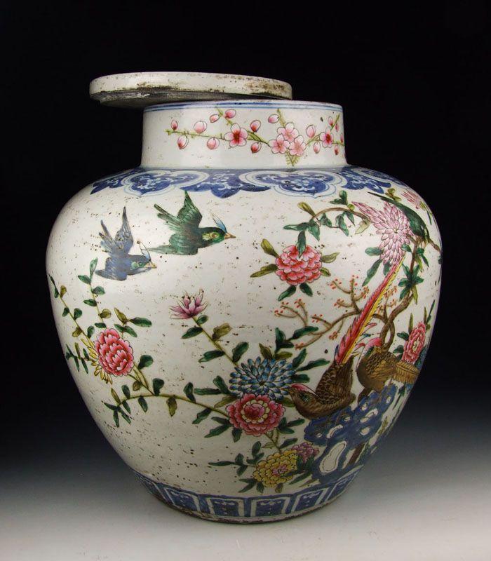 Large Famille Rose Porcelain Pot Qing Dynasty KangXi Reign ...