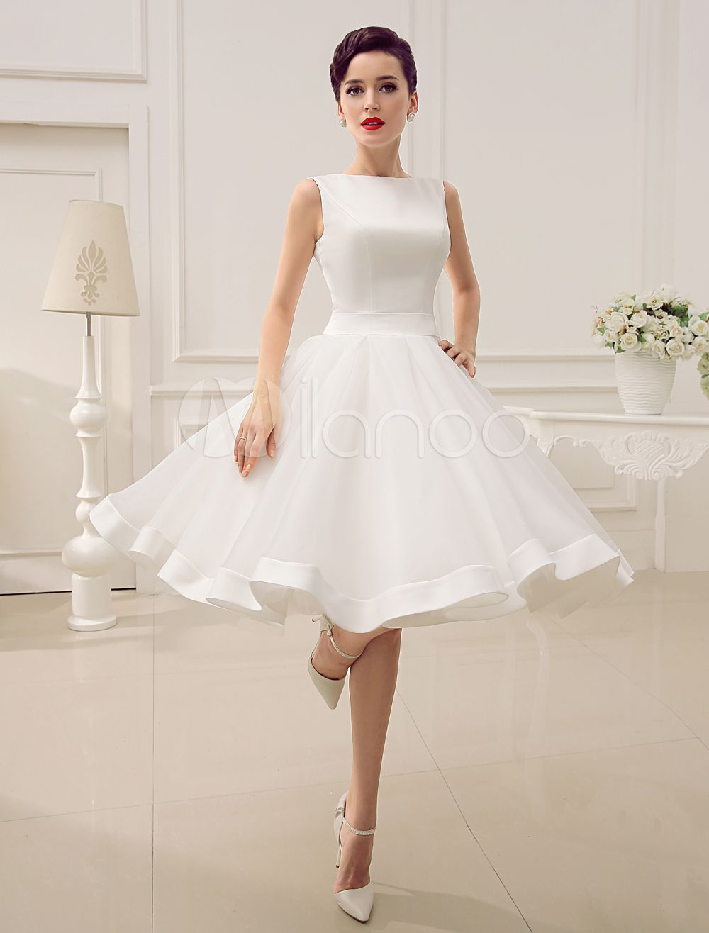 Short wedding dress vintage bridal dress us bateau sleeveless