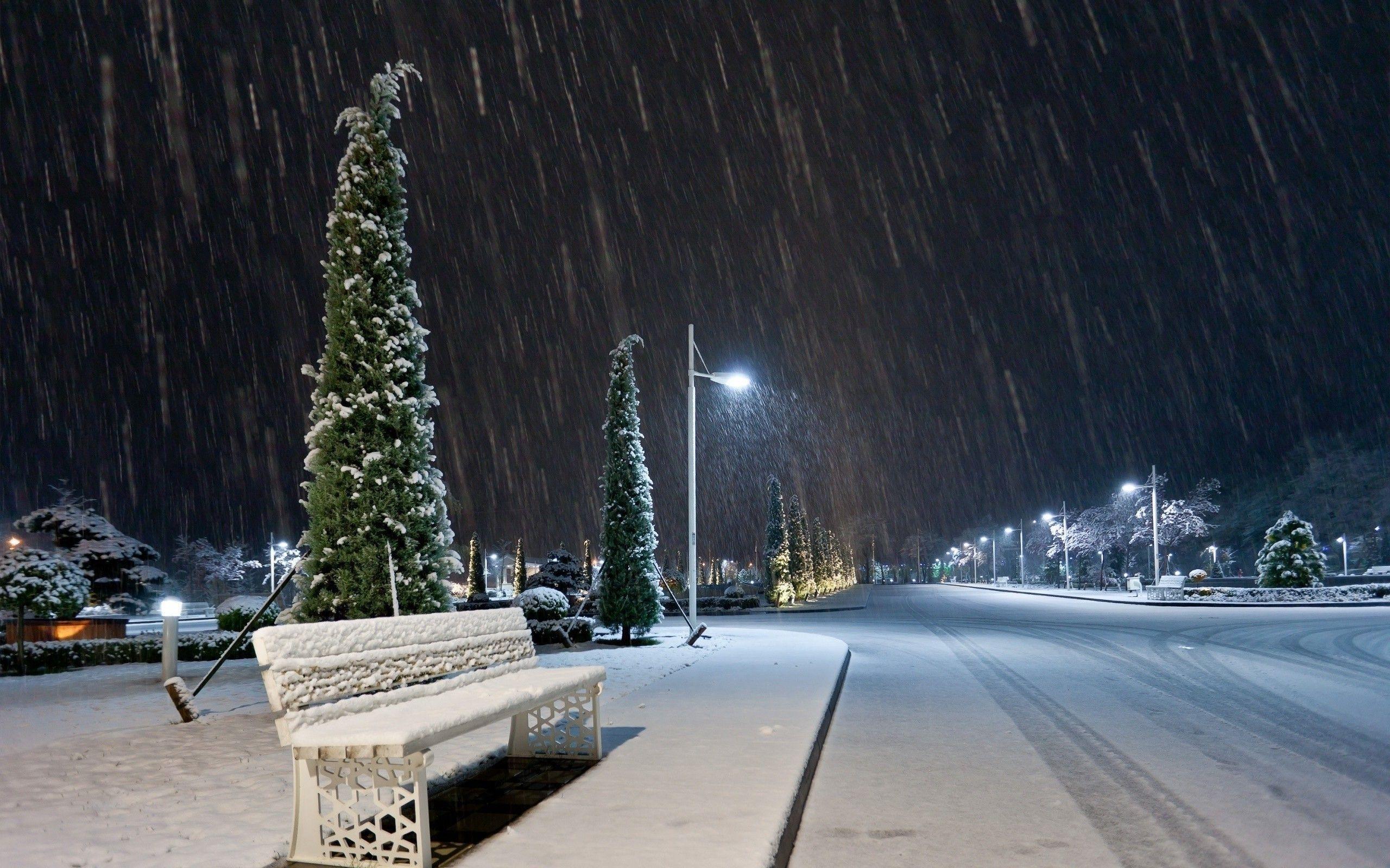 Snow Night On A City Street Snow Night Night City Winter Wallpaper