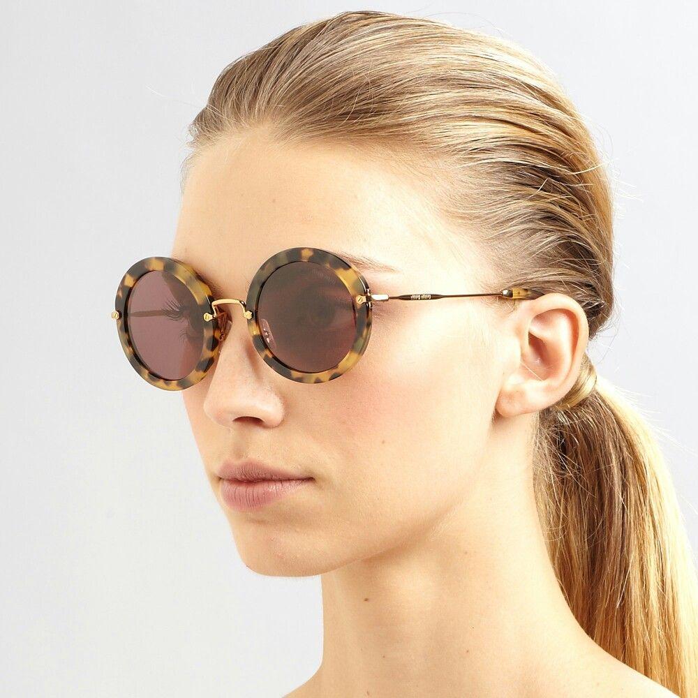 3ae88c2bbad Classic Round sunglasses Miu Miu 13NS - Havana color -  miumiu   miumiusunglasses  miumiu56rs  sunglasses  womensunglasses