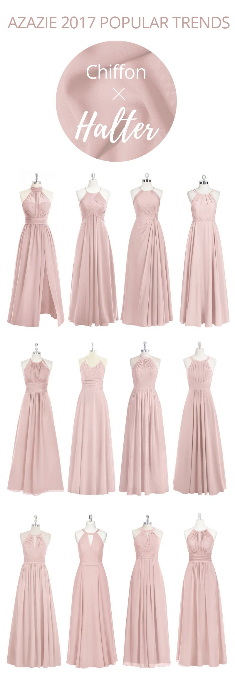 Soft chiffon gowns are trendy and chic in our popular halter ...