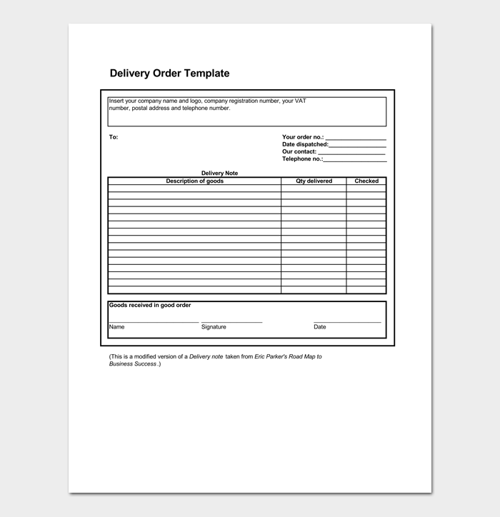 Simple Delivery Order Template Templates Order Success Business