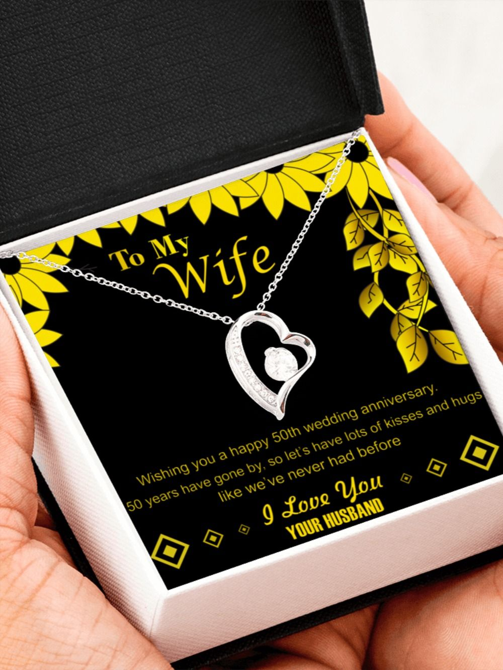 50th Golden Wedding Anniversary Pendant Necklace Gift For Wife Her Gold Jewelry Present Ideas In 2020 50 Wedding Anniversary Gifts 50th Wedding Anniversary 50 Golden Wedding Anniversary
