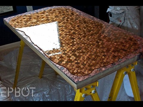 Penny Desktop Using Repurposed Wood, Pennies And Bartop Epoxy! Have To Use  This Idea To Spruce Up An Old Desk.