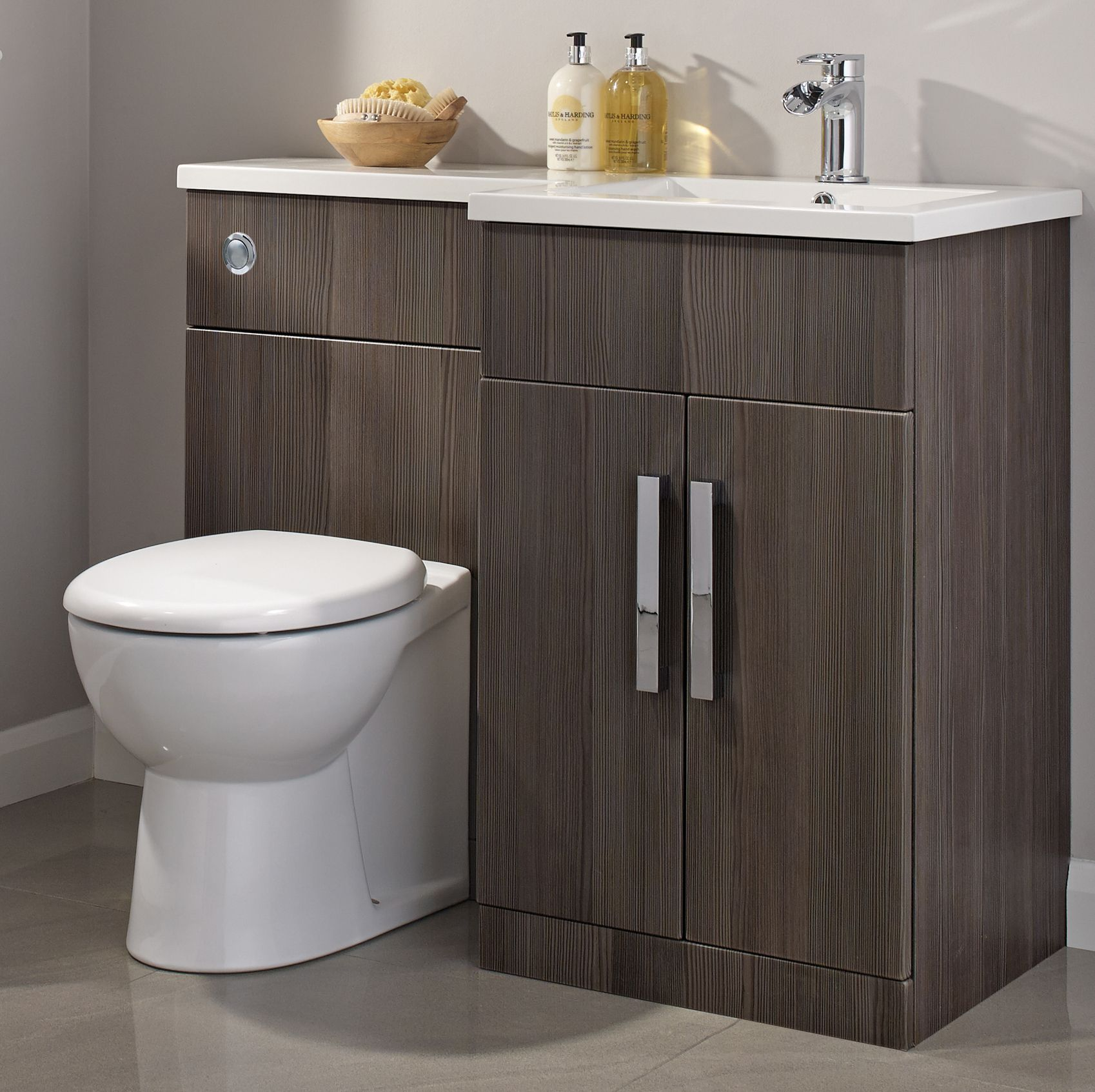 Cooke Lewis Ardesio Bodega Grey Rh Vanity Toilet Pack Rooms Diy At B Q Small Bathroom Cabinets Bathroom Mirror Cabinets