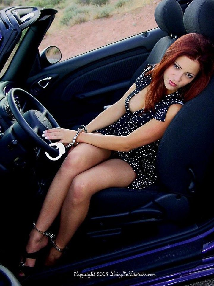 Hot And Sexy Girl Handcuffed In The Car For A Long Drive -7042
