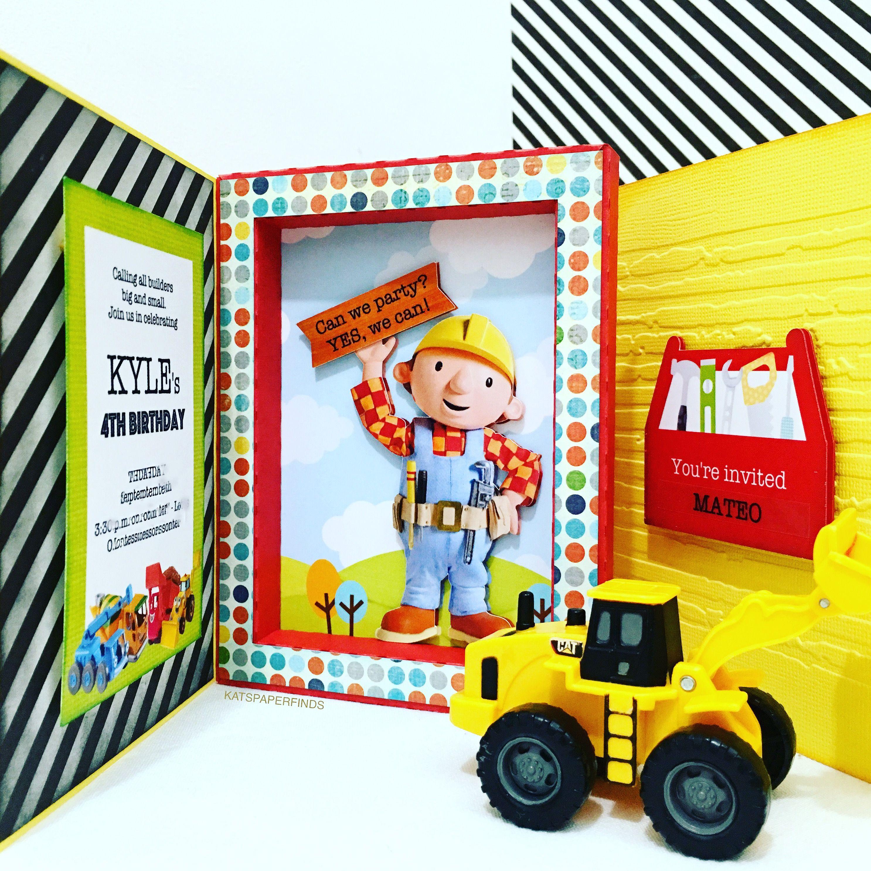 Bob The Builder Frame Card Invitation For Kyle S 4th Birthday Frame Card Invitations 4th Birthday