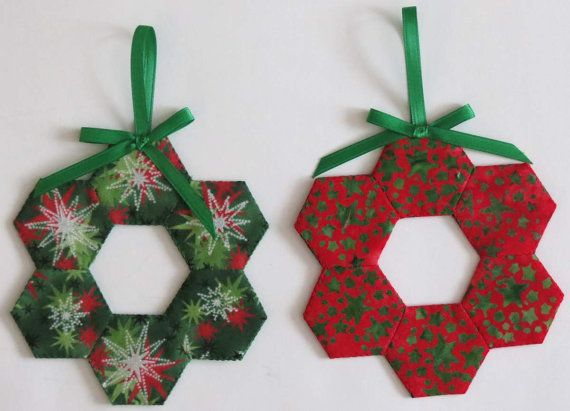 Two (2) Christmas Tree Ornaments, Decorations, English Paper Pieced