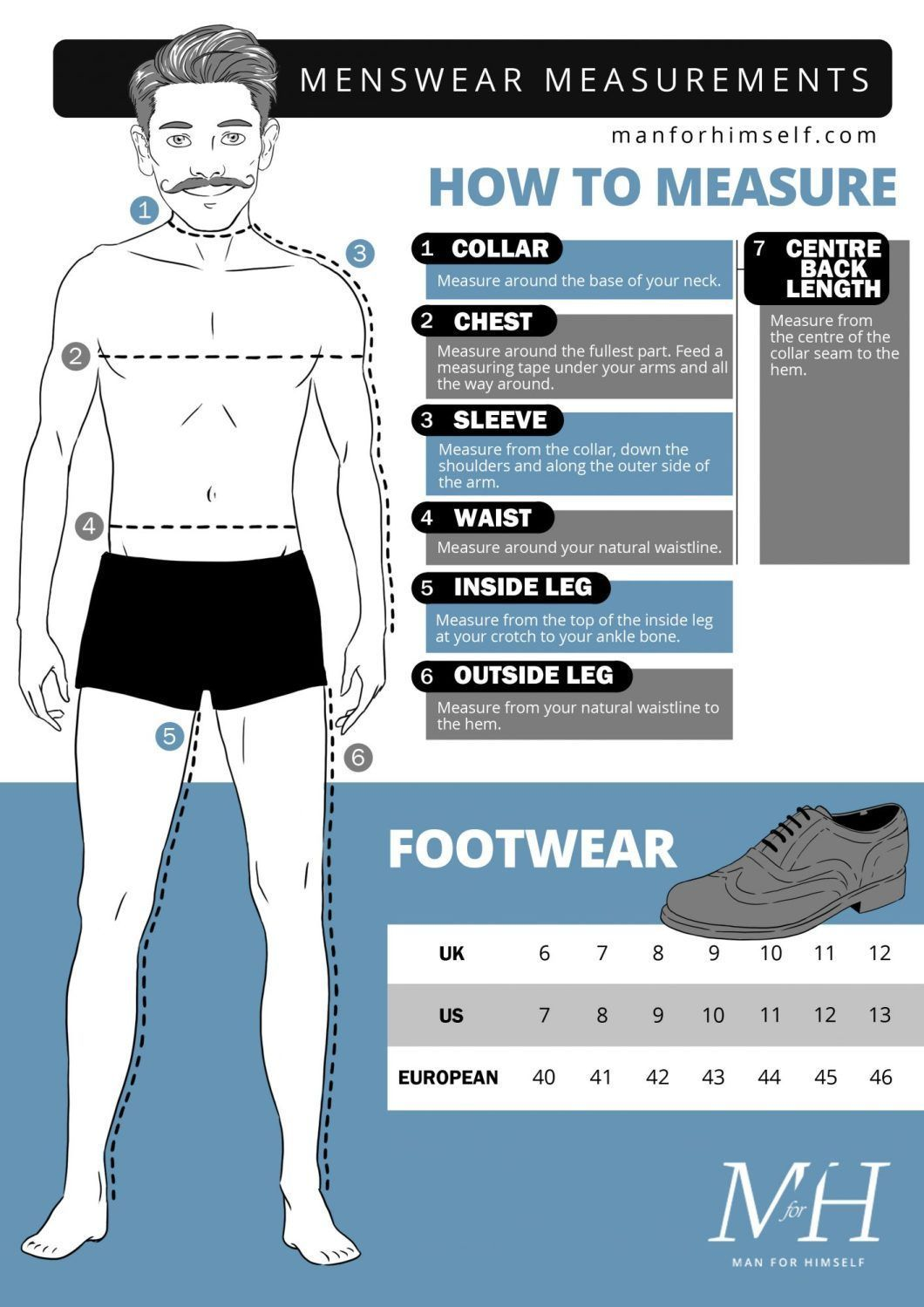 Men S Size Guide What To Measure And How To Measure It Essential For Men S Clothing Shopping Online Guidetomen Sewing Men Mens Outfits Mens Fashion Summer