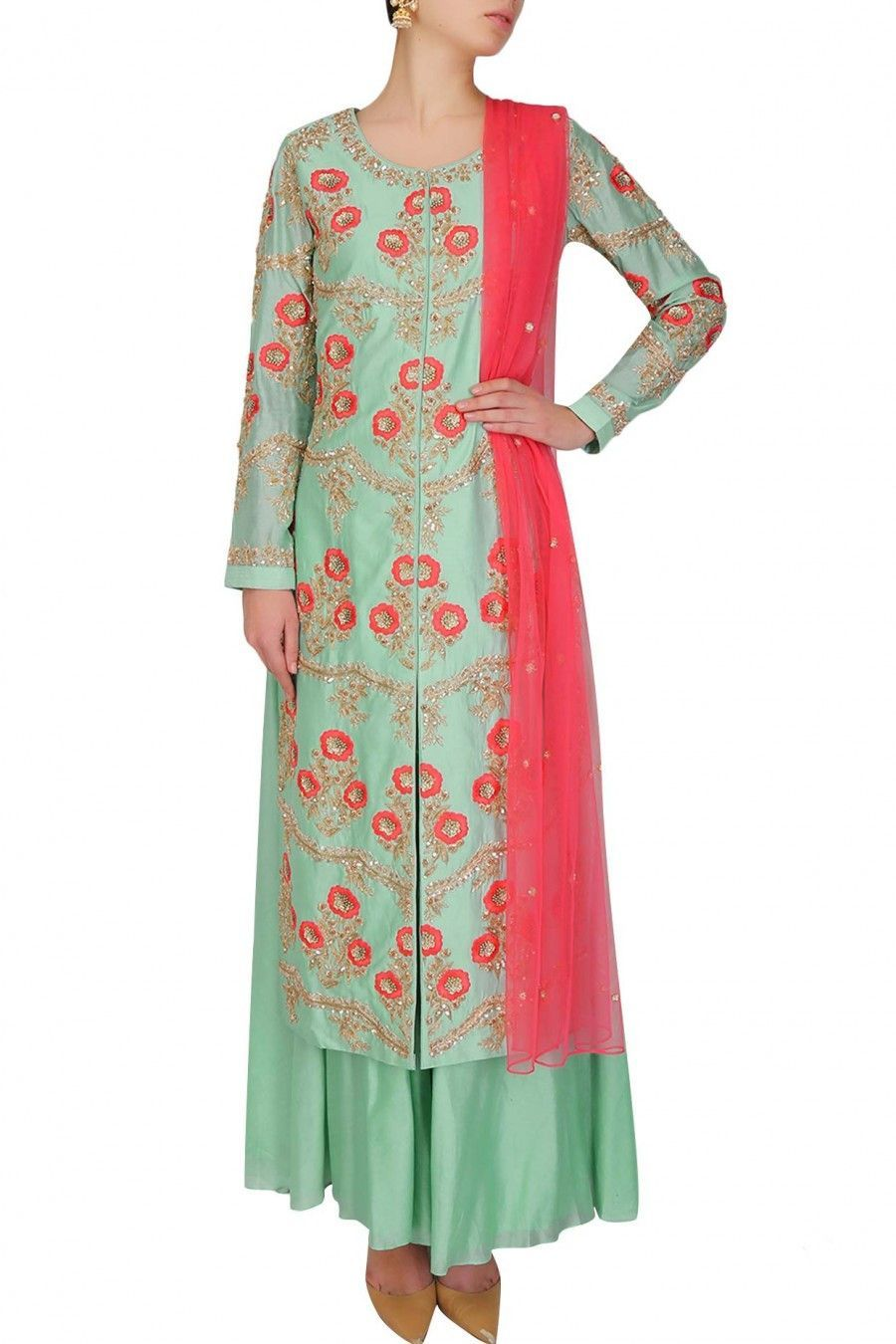 093fcc64de This light green color kurta comes along with matching green palazzo pants  in chanderi and contrast